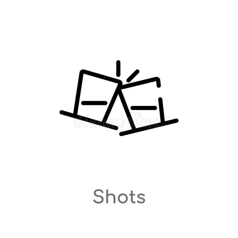 概述射击导航象 被隔绝的黑简单的从酒精概念的线元例证 编辑可能的传染媒介冲程射击象 库存例证