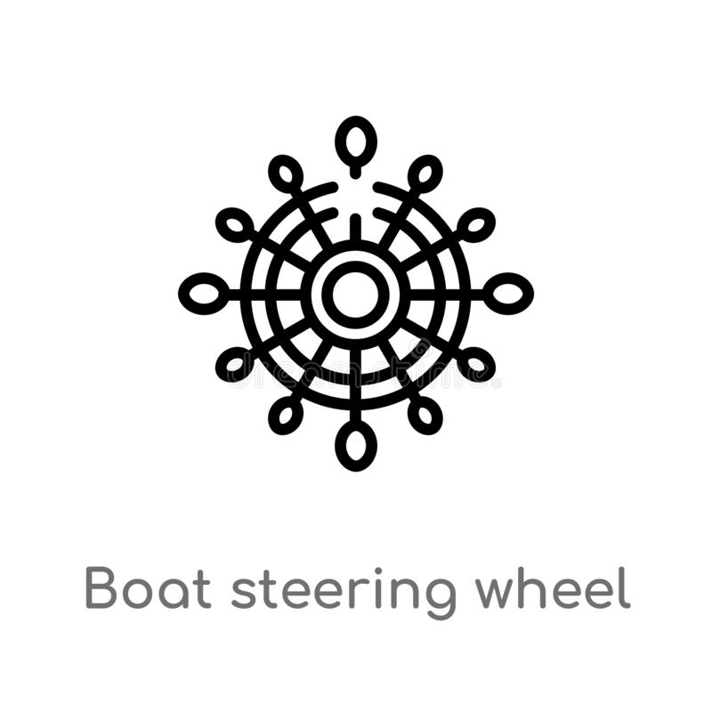 概述小船方向盘传染媒介象 被隔绝的黑简单的从船舶概念的线元例证 编辑可能的传染媒介 向量例证