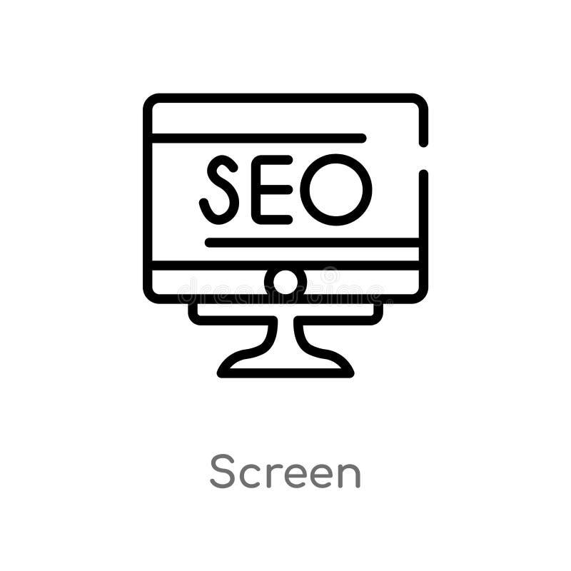 概述屏幕传染媒介象 被隔绝的黑简单的从搜索引擎优化概念的线元例证 编辑可能 向量例证