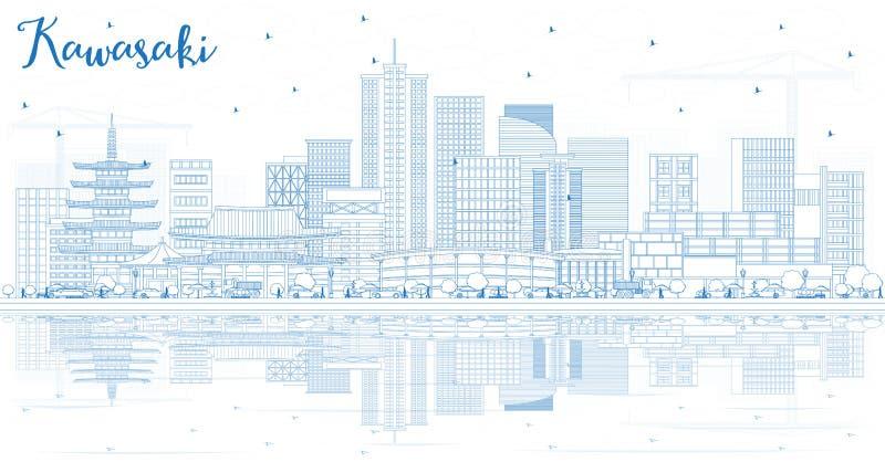 概述川崎日本与蓝色大厦和Refl的市地平线 向量例证