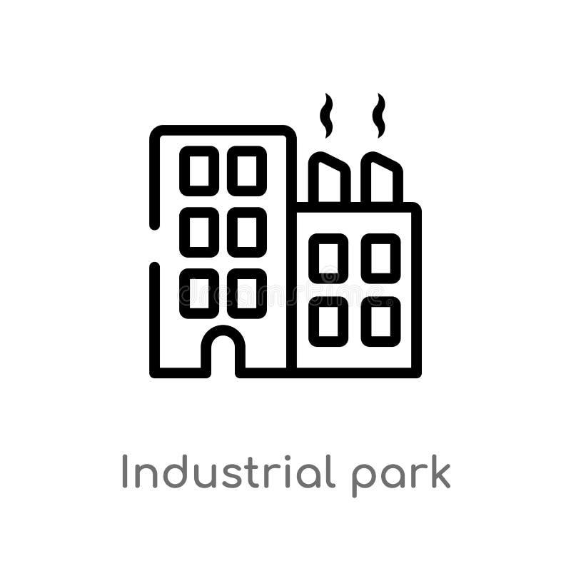 概述工业园传染媒介象 被隔绝的黑简单的从不动产概念的线元例证 编辑可能的传染媒介 库存例证