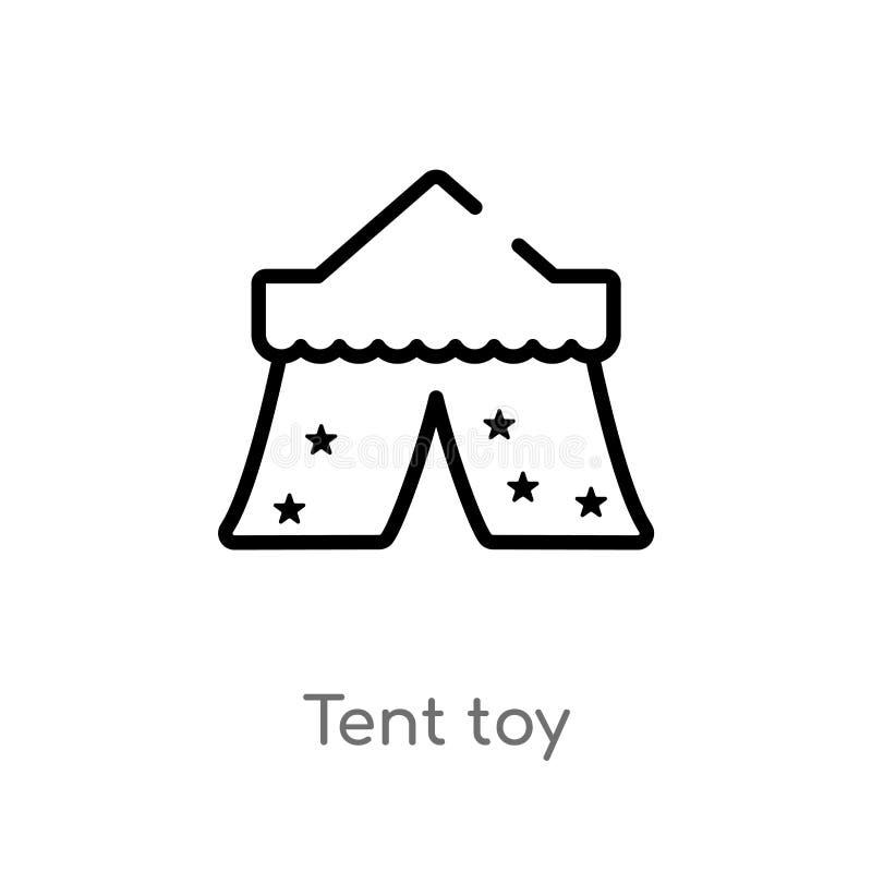 概述帐篷玩具传染媒介象 被隔绝的黑简单的从玩具概念的线元例证 编辑可能的传染媒介冲程帐篷玩具 皇族释放例证