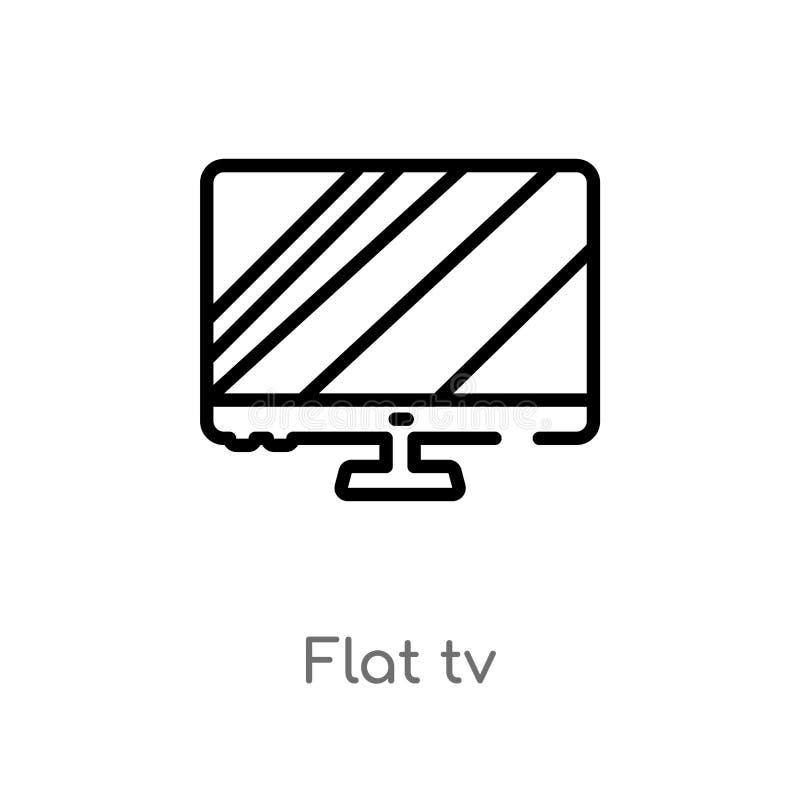 概述平的电视传染媒介象 被隔绝的黑简单的从戏院概念的线元例证 编辑可能的传染媒介冲程平的电视 库存例证