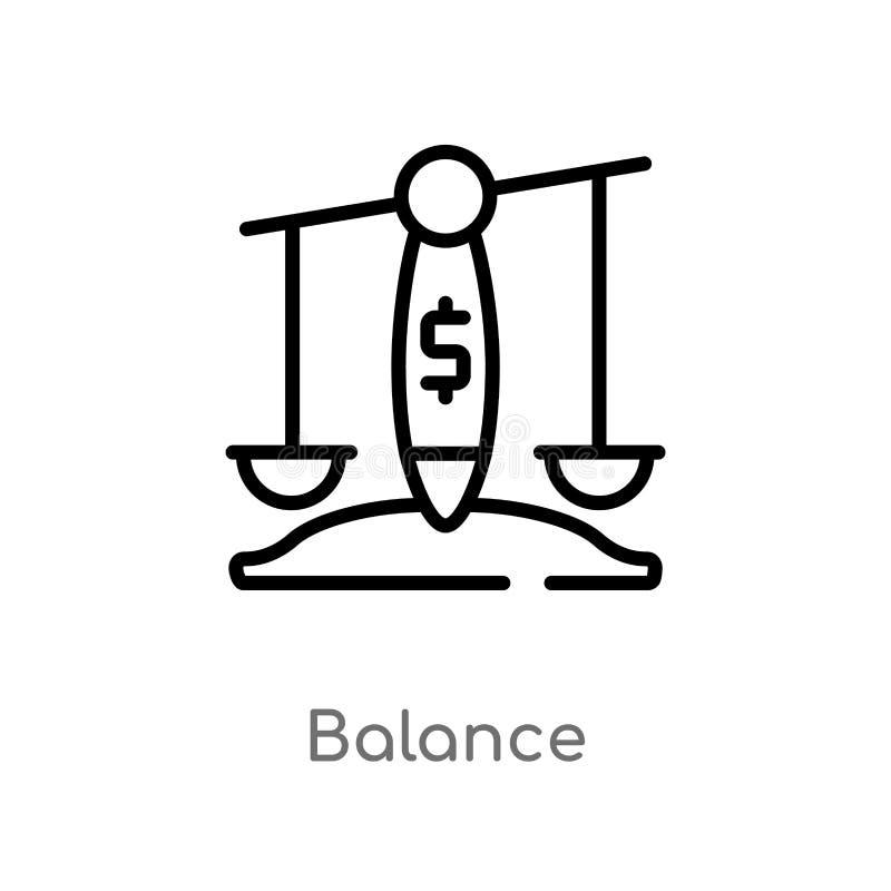 概述平衡传染媒介象 被隔绝的黑简单的从数字经济概念的线元例证 编辑可能的传染媒介冲程 皇族释放例证