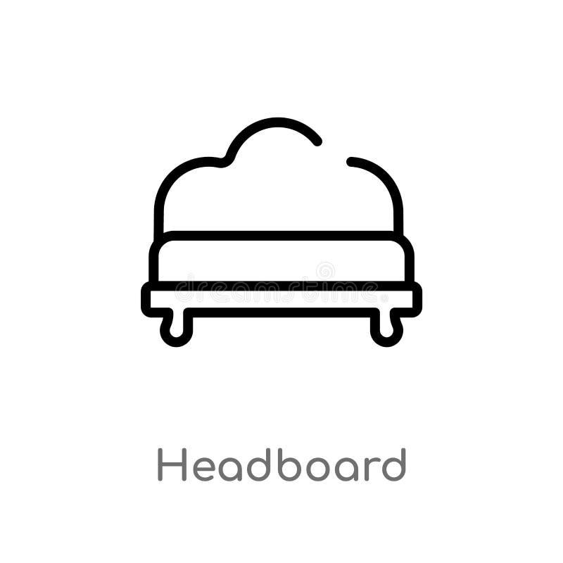 概述床头板传染媒介象 被隔绝的黑简单的从家具和家庭概念的线元例证 编辑可能 库存例证