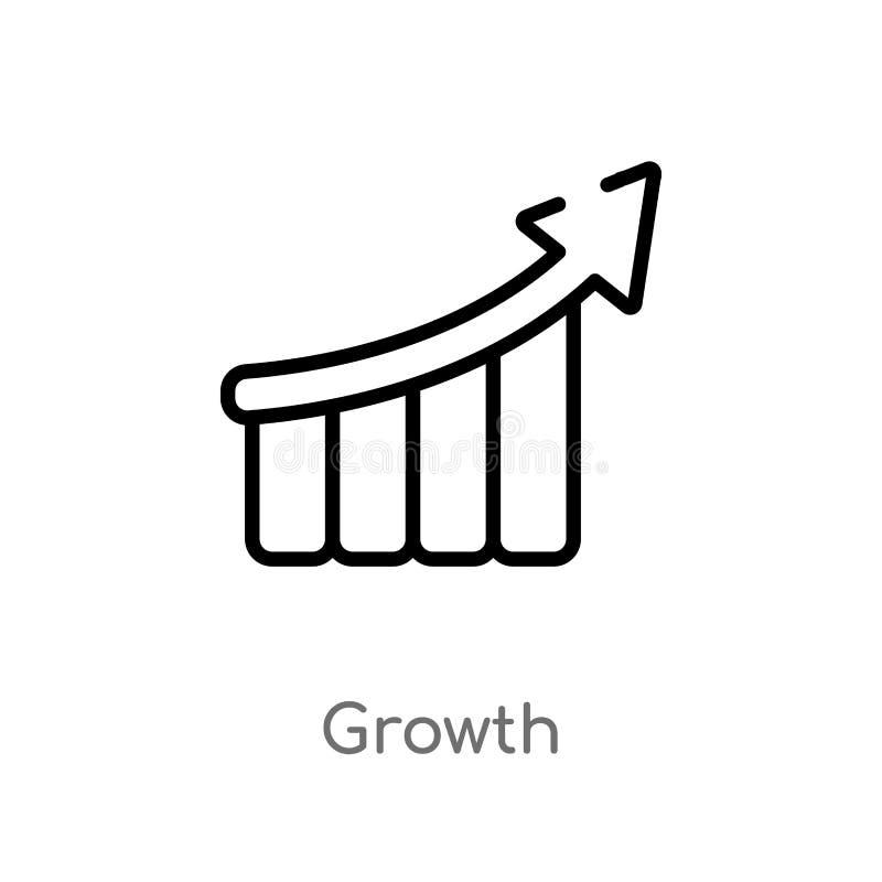 概述成长传染媒介象 被隔绝的黑简单的从战略概念的线元例证 编辑可能的传染媒介冲程成长 向量例证