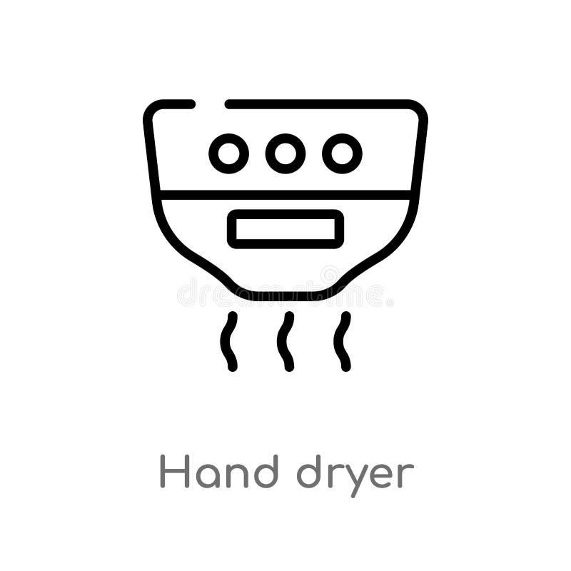 概述手更加干燥的传染媒介象 被隔绝的黑简单的从卫生学概念的线元例证 编辑可能的传染媒介冲程手 皇族释放例证