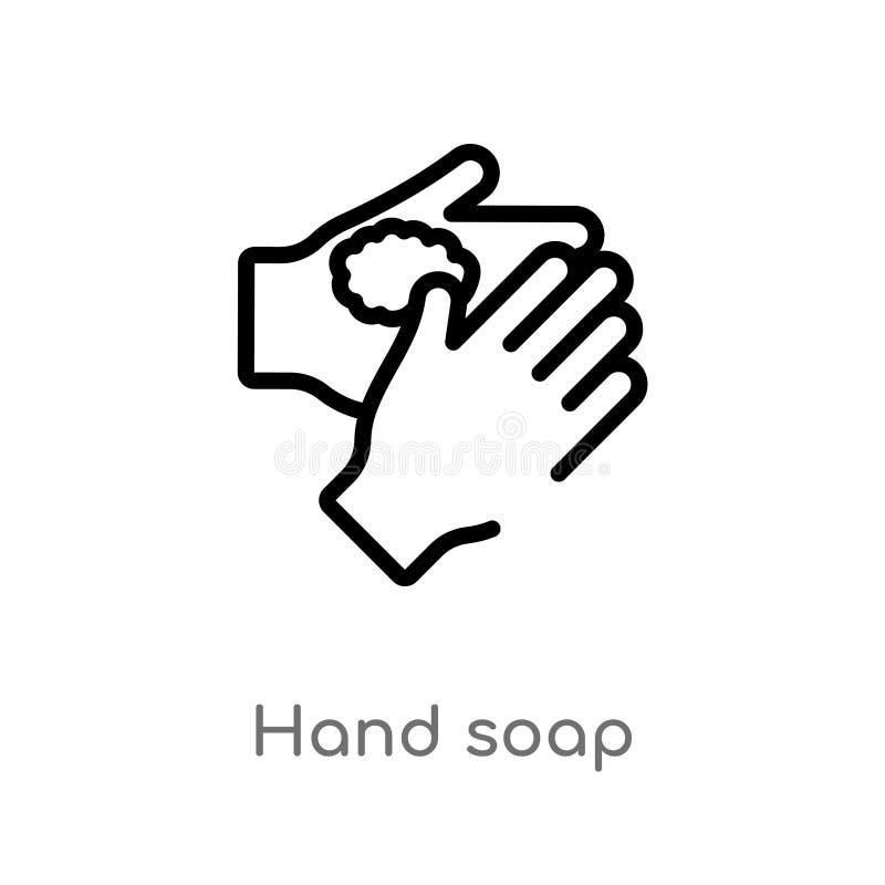 概述手肥皂传染媒介象 E 编辑可能的传染媒介冲程手 向量例证