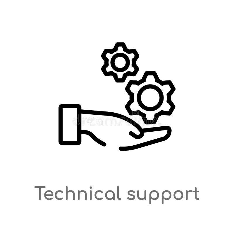 概述技术支持传染媒介象 被隔绝的黑简单的从大数据概念的线元例证 编辑可能的传染媒介 库存例证