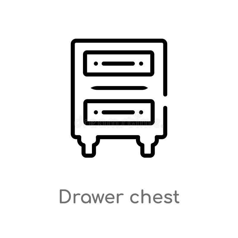 概述抽屉胸口传染媒介象 被隔绝的黑简单的从家具和家庭概念的线元例证 编辑可能 库存例证