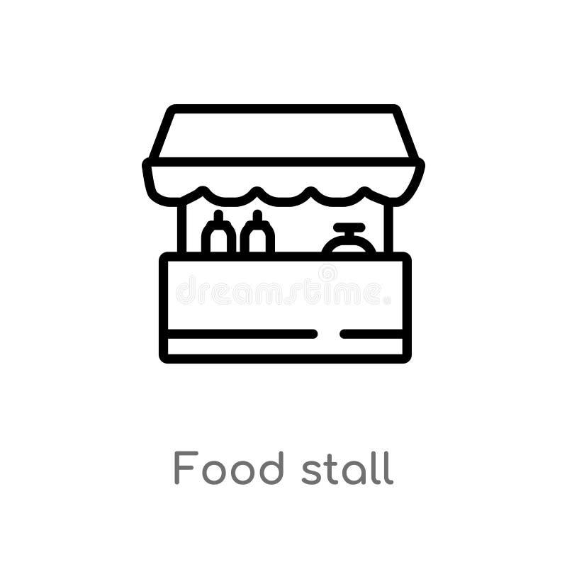 概述排档传染媒介象 被隔绝的黑简单的从文化概念的线元例证 编辑可能的传染媒介冲程食物 库存例证
