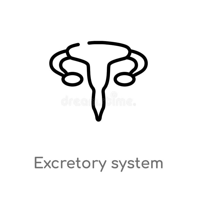 概述排泄的系统传染媒介象 被隔绝的黑简单的从人体零件概念的线元例证 编辑可能 向量例证