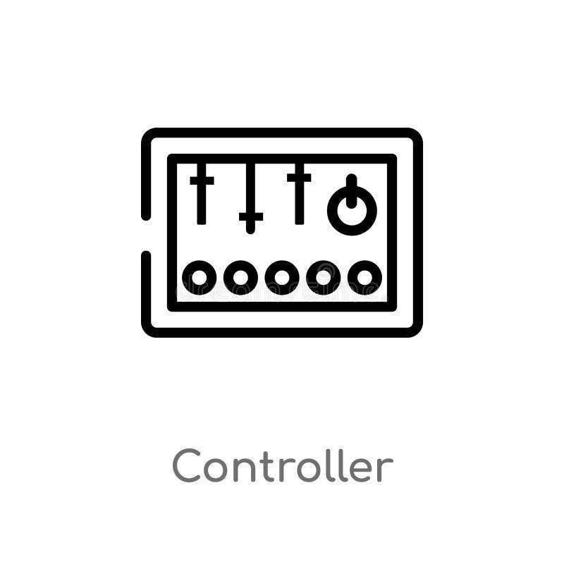 概述控制器传染媒介象 被隔绝的黑简单的从产业概念的线元例证 编辑可能的传染媒介冲程 库存例证