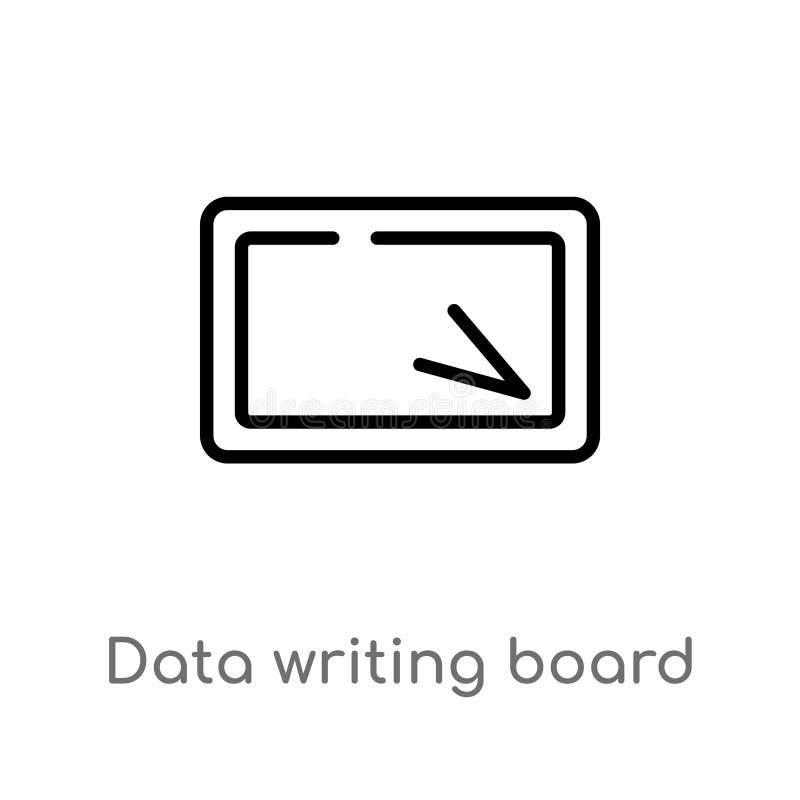 概述数据书写板接口传染媒介象 被隔绝的黑简单的从用户界面概念的线元例证 库存例证