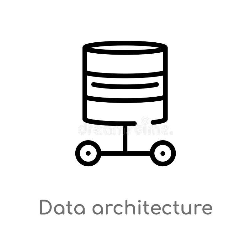 概述数据建筑学传染媒介象 被隔绝的黑简单的从技术概念的线元例证 编辑可能的传染媒介 库存例证