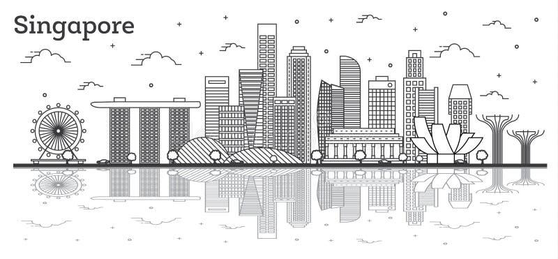 概述新加坡与现代大厦的市在白色隔绝的地平线和反射 皇族释放例证