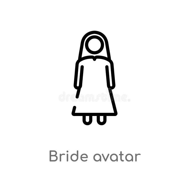 概述新娘具体化传染媒介象 被隔绝的黑简单的从人概念的线元例证 编辑可能的传染媒介冲程 皇族释放例证