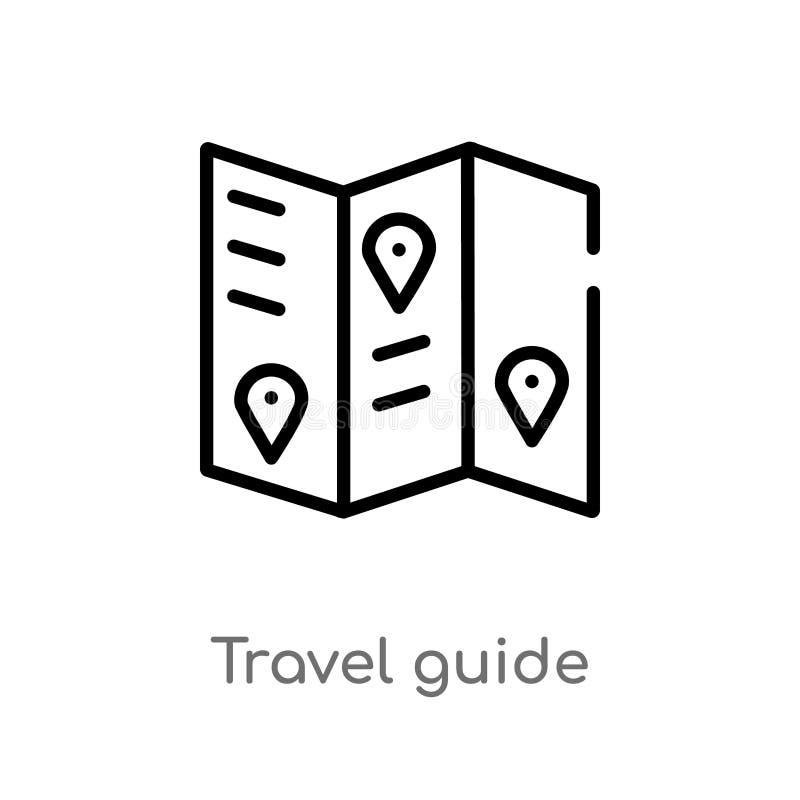 概述旅行指南传染媒介象 被隔绝的黑简单的从夏天概念的线元例证 r 向量例证