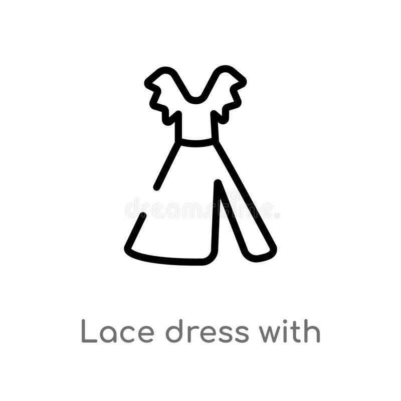 概述有传送带传染媒介象的鞋带礼服 被隔绝的黑简单的从妇女衣物概念的线元例证 编辑可能 皇族释放例证