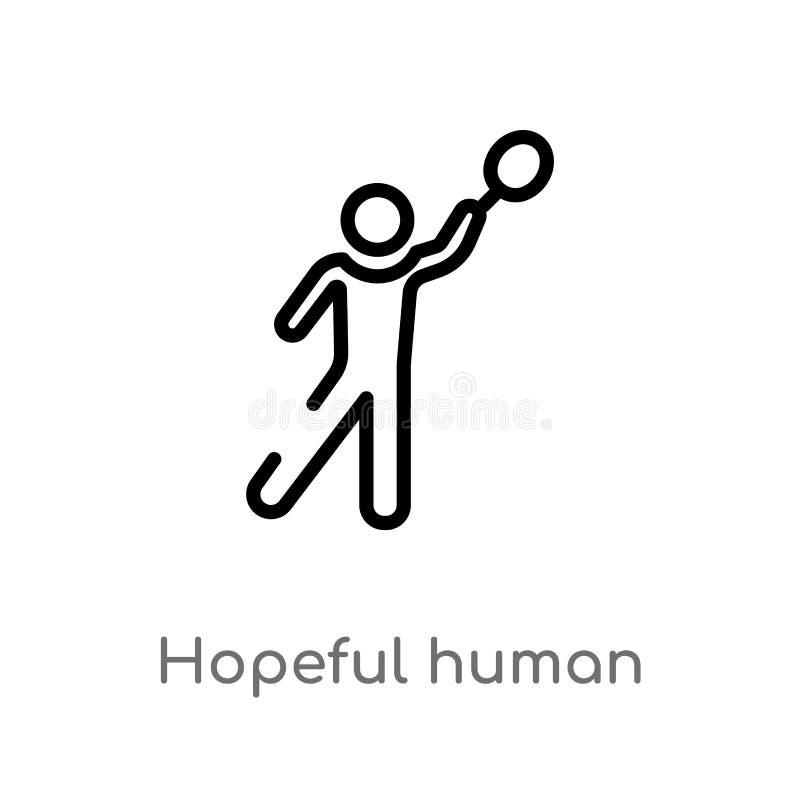 概述有希望的人的传染媒介象 被隔绝的黑简单的从感觉概念的线元例证 编辑可能的传染媒介冲程 库存例证
