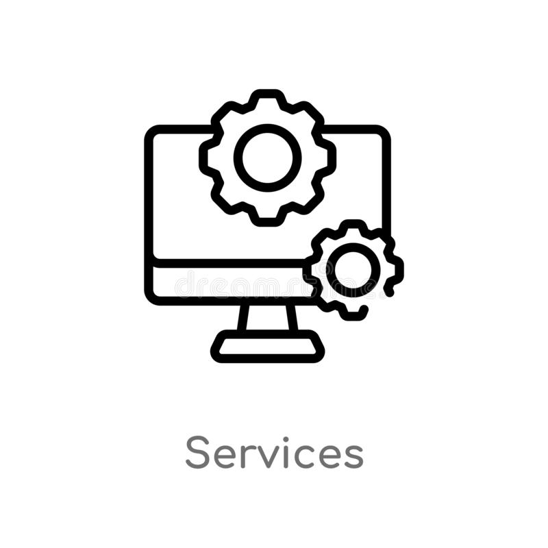 概述服务导航象 被隔绝的黑简单的从技术概念的线元例证 编辑可能的传染媒介冲程 皇族释放例证