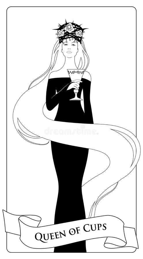 概述杯的女王/王后有冠、玫瑰和刺的,拿着一奖杯 较小奥秘占卜用的纸牌 库存例证