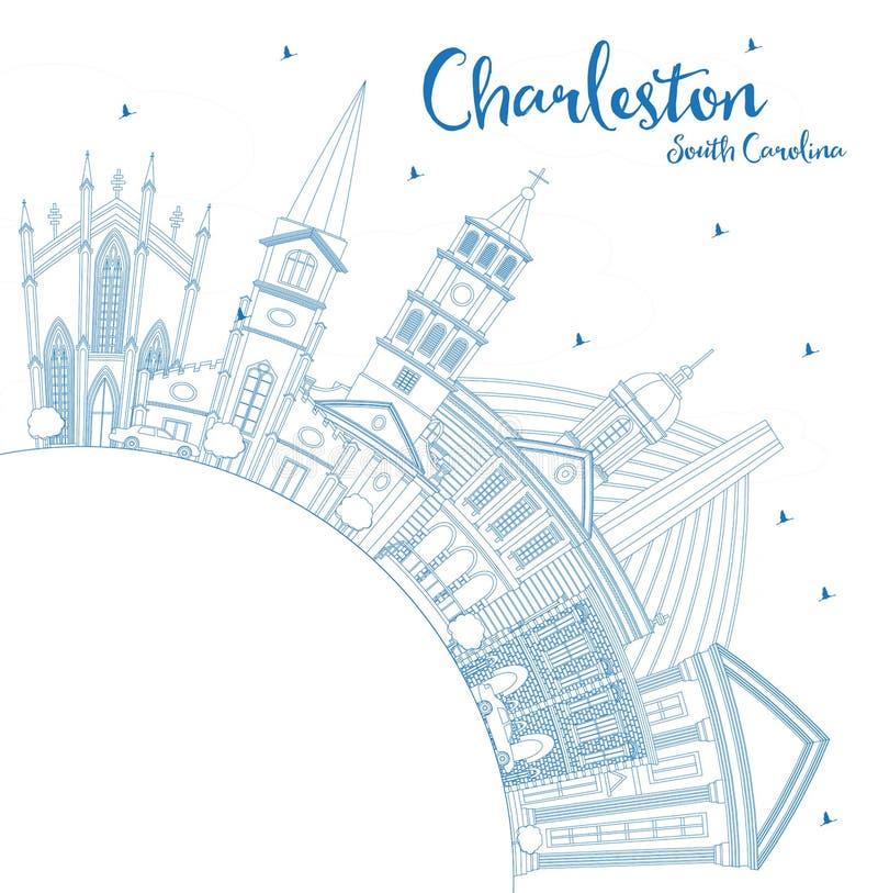 概述查尔斯顿南卡罗来纳与蓝色Buildin的市地平线 向量例证