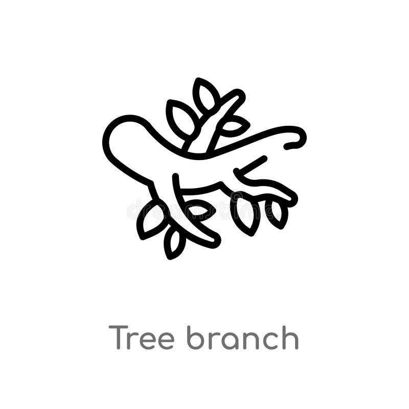 概述树枝传染媒介象 被隔绝的黑简单的从秋天概念的线元例证 编辑可能的传染媒介冲程树 向量例证
