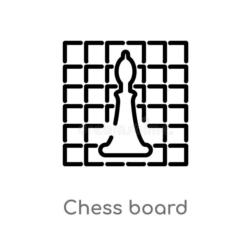概述棋盘传染媒介象 被隔绝的黑简单的从爱好概念的线元例证 r 皇族释放例证