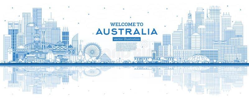 概述欢迎到与蓝色大厦和反射的澳大利亚地平线 库存例证