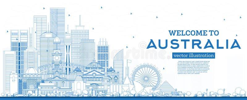 概述欢迎到与蓝色大厦的澳大利亚地平线 向量例证