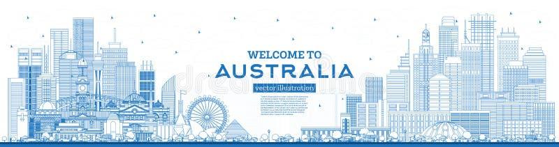 概述欢迎到与蓝色大厦的澳大利亚地平线 库存例证