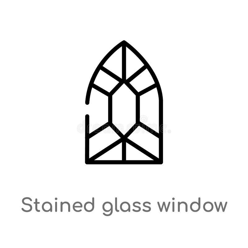 概述污迹玻璃窗传染媒介象 E r 向量例证