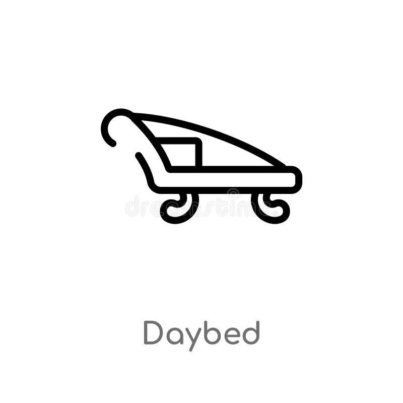概述沙发床传染媒介象 被隔绝的黑简单的从家具和家庭概念的线元例证 编辑可能的传染媒介 库存例证