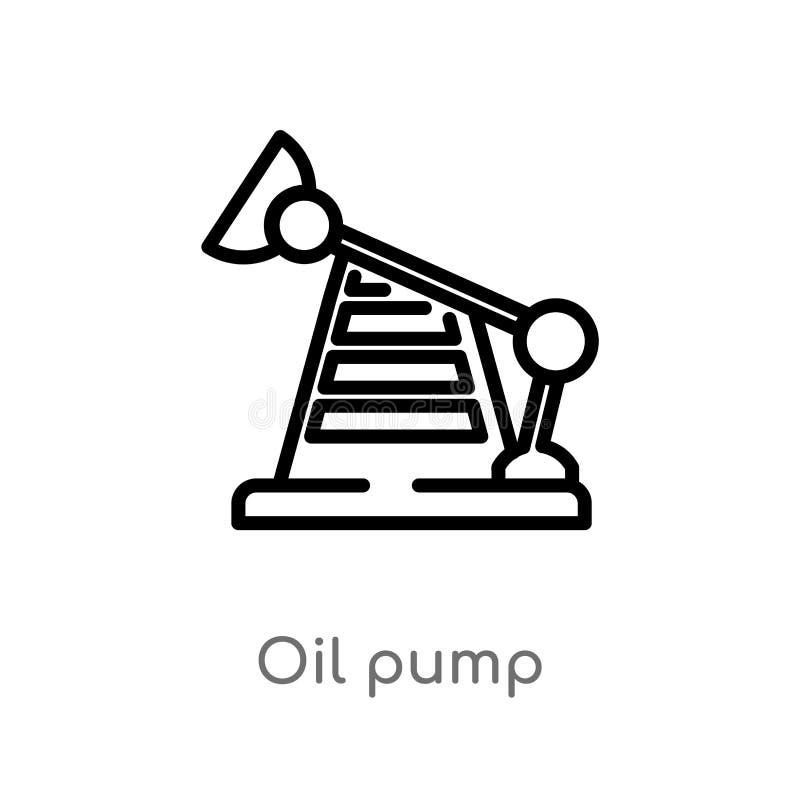 概述油泵传染媒介象 被隔绝的黑简单的从产业概念的线元例证 编辑可能的传染媒介冲程油 皇族释放例证