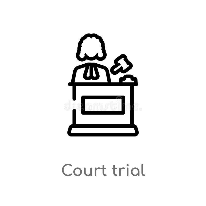概述法庭审问传染媒介象 被隔绝的黑简单的从法律和正义概念的线元例证 编辑可能的传染媒介 向量例证
