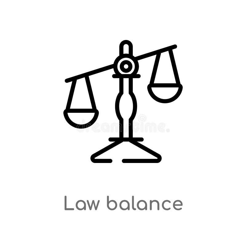 概述法律平衡传染媒介象 被隔绝的黑简单的从法律和正义概念的线元例证 编辑可能的传染媒介 库存例证