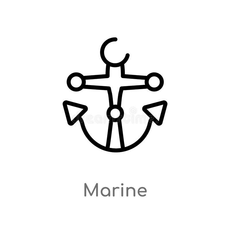 概述海洋传染媒介象 被隔绝的黑简单的从船舶概念的线元例证 编辑可能的传染媒介冲程海军陆战队员 库存例证
