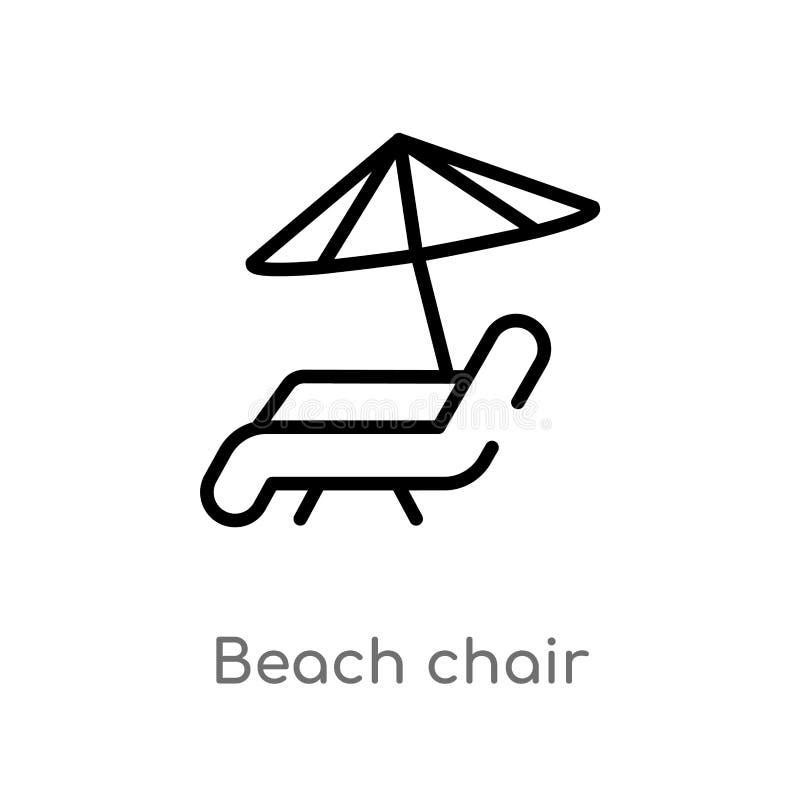 概述海滩睡椅传染媒介象 被隔绝的黑简单的从夏天概念的线元例证 编辑可能的传染媒介冲程海滩 向量例证