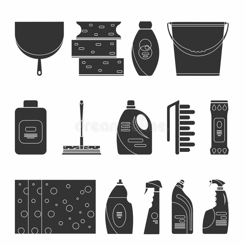 概述清洁产品和设备背景样式 向量例证