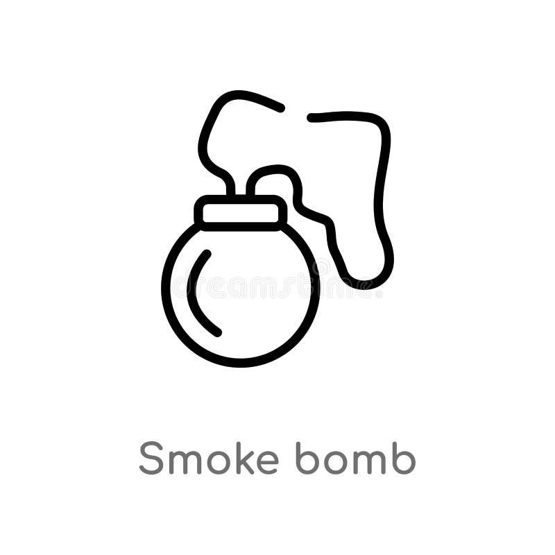 概述烟幕弹传染媒介象 被隔绝的黑简单的从亚洲概念的线元例证 r 向量例证