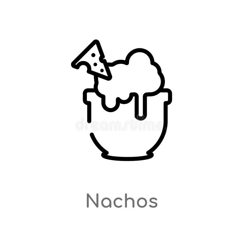 概述烤干酪辣味玉米片导航象 被隔绝的黑简单的从美食术概念的线元例证 编辑可能的传染媒介冲程烤干酪辣味玉米片 库存例证
