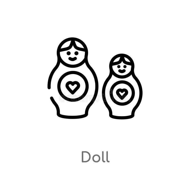 概述玩偶传染媒介象 被隔绝的黑简单的从万圣节概念的线元例证 编辑可能的传染媒介冲程玩偶象 皇族释放例证