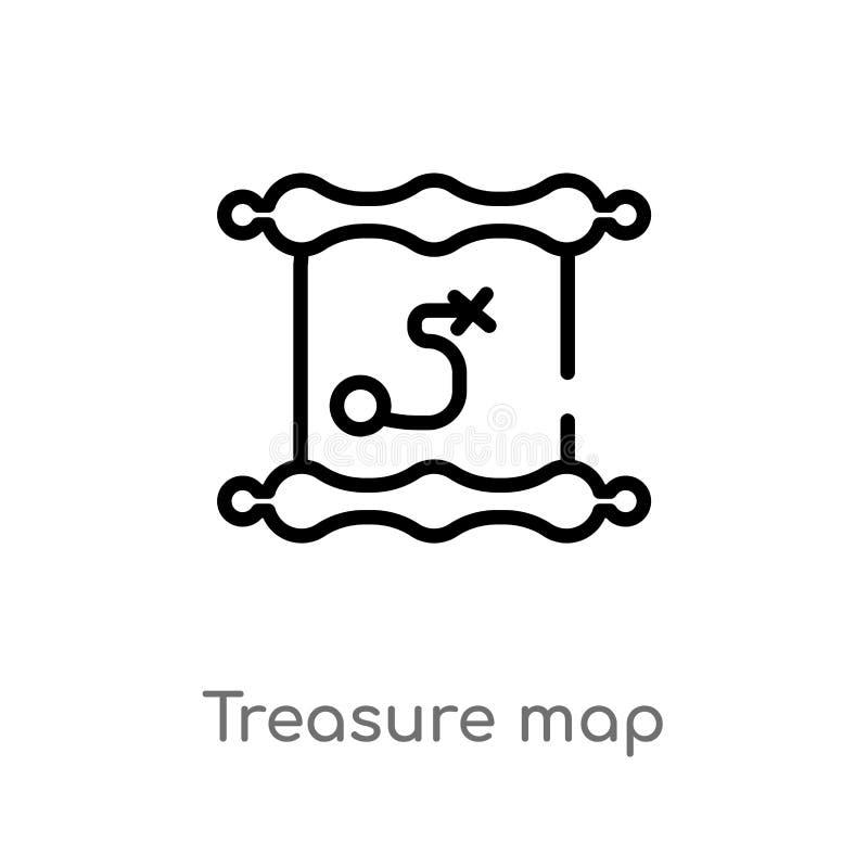 概述珍宝地图传染媒介象 被隔绝的黑简单的从文学概念的线元例证 编辑可能的传染媒介冲程 库存例证