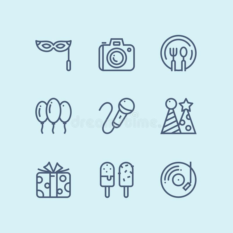 概述生日、事件、庆祝传染媒介简单的象网的和流动设计组装4 库存例证