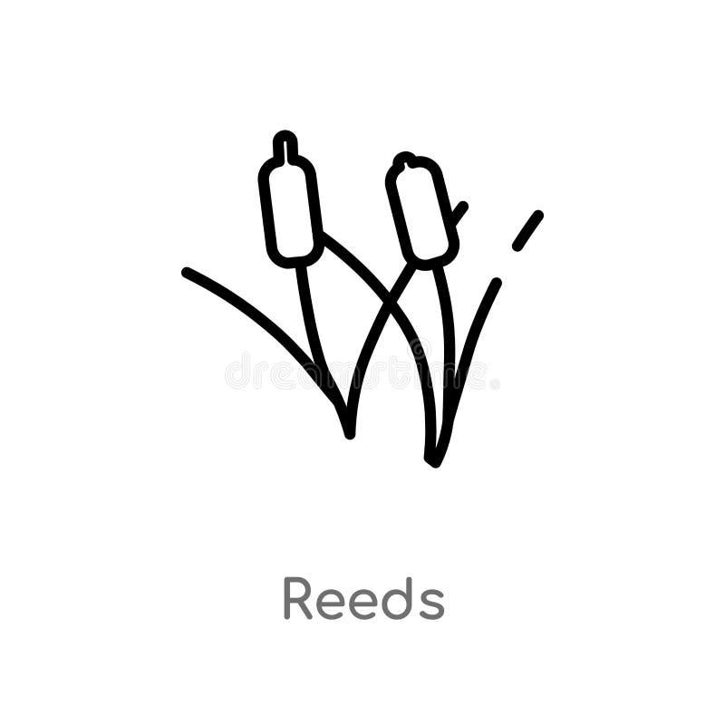 概述用茅草盖传染媒介象 被隔绝的黑简单的从自然概念的线元例证 编辑可能的传染媒介冲程用茅草盖象 向量例证
