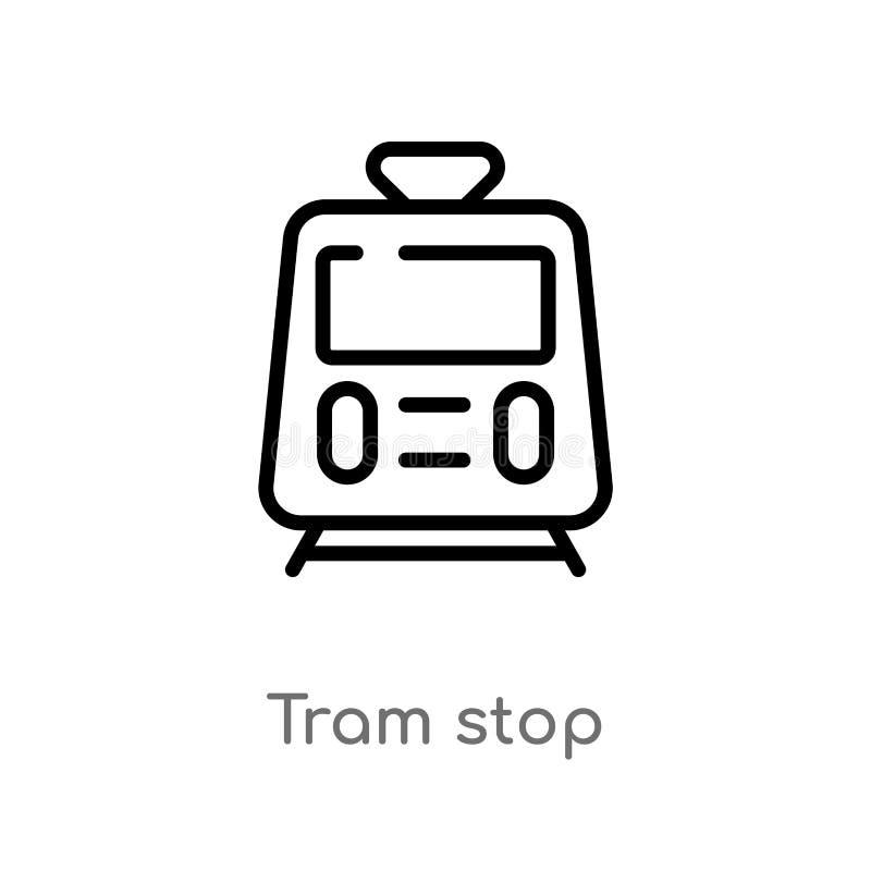 概述电车中止传染媒介象 被隔绝的黑简单的从运输概念的线元例证 编辑可能的传染媒介冲程电车 皇族释放例证