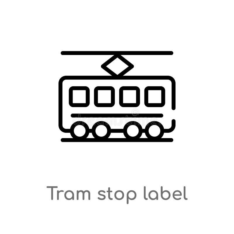 概述电车中止标签传染媒介象 被隔绝的黑简单的从运输概念的线元例证 编辑可能的传染媒介 皇族释放例证