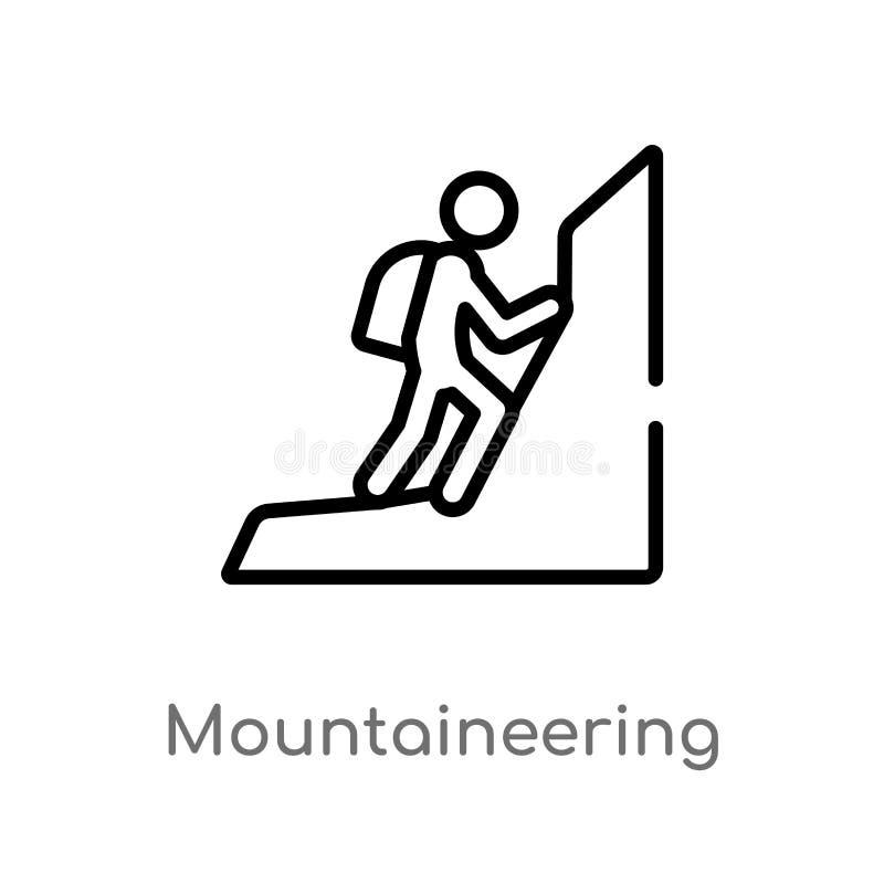 概述登山传染媒介象 被隔绝的黑简单的从活动概念的线元例证 编辑可能的传染媒介 库存例证