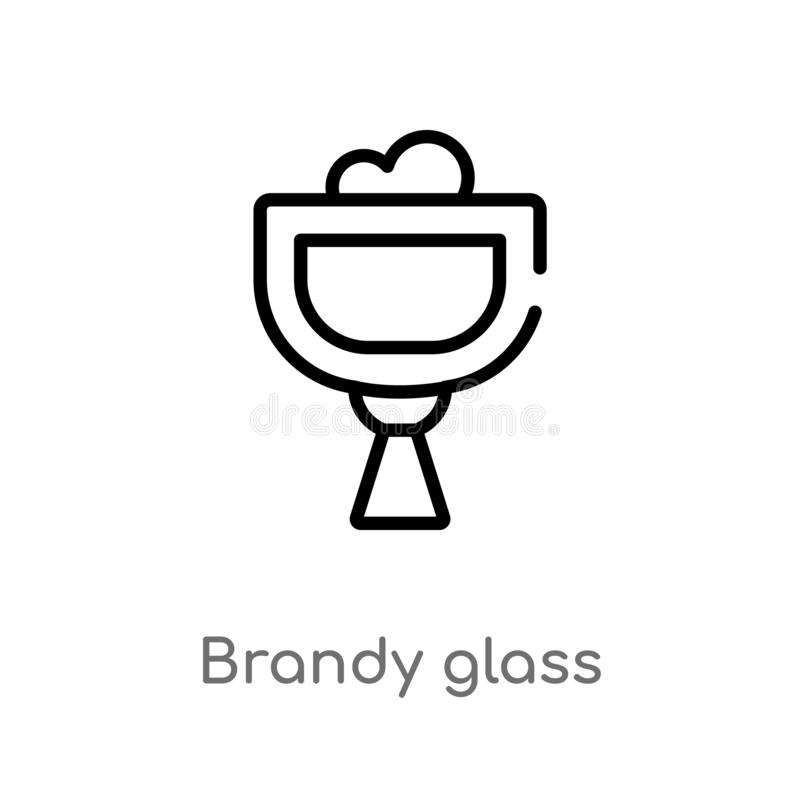 概述白兰地酒玻璃传染媒介象 被隔绝的黑简单的从饮料概念的线元例证 编辑可能的传染媒介冲程 库存例证